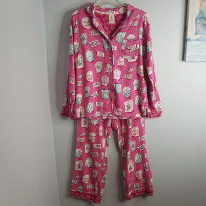 Munki Munki Pink Popcorn Print Flannel Pajama Set